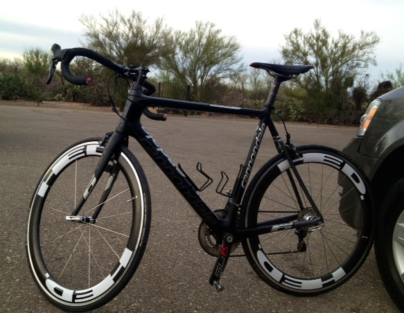 One of our Cannondale SuperSix bike rentals equipped with a new HED JET 6 wheelset